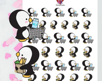 Shopping Penguins / Decorative Stickers / Planner Stickers
