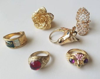 Truly Vintage Cocktail Rings from the 1960-1990's - Authentic Retro Statement Pieces! Owl-Frog-Giraffe-Green Jade-Red Ruby-Gold Rose-Pinky