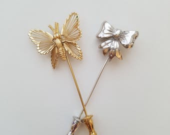 Beautiful Vintage Gold Tone Butterfly and Silver Tone Bow Stick Pins/Hat Pins/Scarf Pins/Purse Pins - Wonderful Condition!
