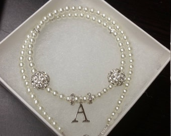 Kids initial pearl necklace