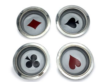 1 Silver Plated set of 4 WS Blackinton-Since 1865 Playing Card Themed Clubs, Diamonds, Hearts & Spades Coasters or Nut Dishes