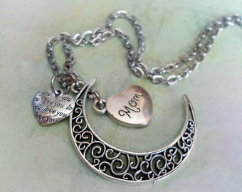 Mom Filigree Crescent Moon Necklace with Love You Heart, Mom Birthday, Mother Birthday Gift, Mom Gift, Mother Gift, I Love Mom!