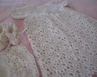 Crochet Christening Gown for Baby,set includes Bonnet and Booties in Ivory