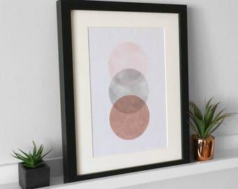 Pink And Grey Printable / Watercolour Print / Circle Printable / Downloadable Print / Modern Wall Art / Rose Gold Circle Print / Abstract