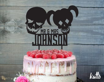 Zombies Wedding Cake Topper- Customizable wedding Cake Topper- Zombie Cake Topper- Silhouette zombies Cake Topper- personalized cake topper