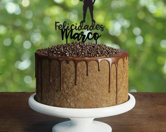 American football Birthday Cake Topper, Customizable Birthday Cake Topper, American football party, Silhouette American Football Cake Topper