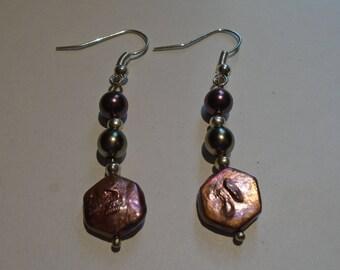 Beaded Pink Pearl Earrings