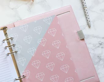 Diamonds Pocket Folder | Planner Pocket | Pocket Divider | Pocket Dashboard - A5