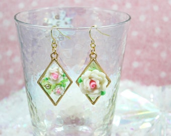 Pink and White Roses Asymmetrical Classic Lolita Pastel Aesthetic Statement Earrings