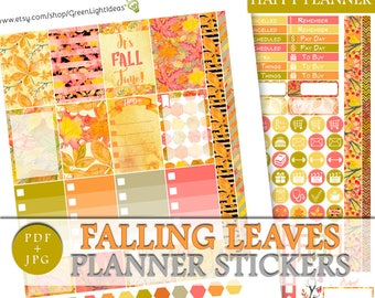 Fall Printable Stickers, Happy Planner Fall Weekly Kit, Autumn Happy Planner Sticker Kit, Fall Sticker Kit, November Stickers Thanksgiving