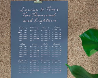 Personalised Calender Print, Wall planner, Rose Gold, Personalised Calendar, 2018 Calendar