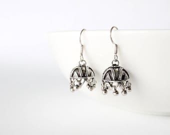 Sterling Silver Earrings | Boho Drop Umbrella Dangle Earrings | Gifts for Her | Bohemian Gypsy Tribal Rustic Unique Ethnic Handmade in Nepal