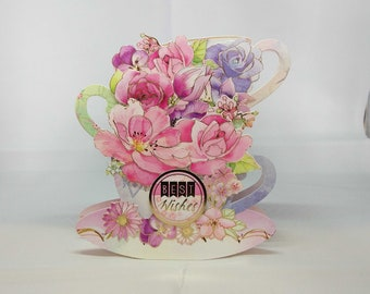 3D Flowers in Tea Cups Female Birthday Card - luxury personalised unique quality special bespoke UK - Mum/Daughter/Aunt/Sister/Niece/Grandma