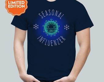 Seasonal Influezer / Winter Flu Tee / Kawaii Influenza Cute Virus / Limited Edition / Mens T Shirt