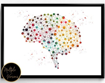 Human brain,watercolor print,brain cells,poster,Neurons and brain abstract illustration,anatomy science art, the brain wall art, gift(1224)