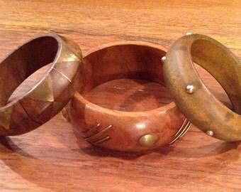 Vintage Retro Wood and Brass Bangle Bracelets, set of three
