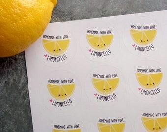 Limoncello Labels Homemade With Love Lemon Shake Up Lemon Bars Lemonade or Custom Wording - 24 Limoncello Stickers for Party Favors