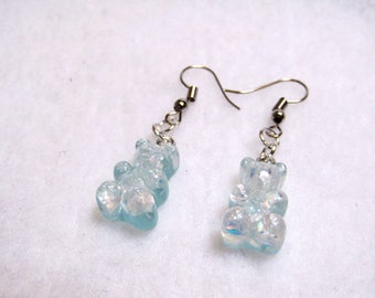 cute pastel blue sparkly gummy candy bear resin earrings
