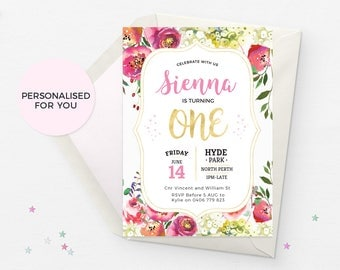 Floral 1st birthday invitations girl, First birthday invitations floral First birthday invites floral Tea party invitation kids party invite