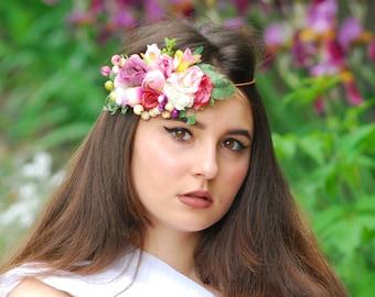 Flower Headband Vintage Headband Bridal Flower Hairpiece Flower Bridal Crown Flower Headband Wedding Flower Hairpiece Hair Vintage Wedding