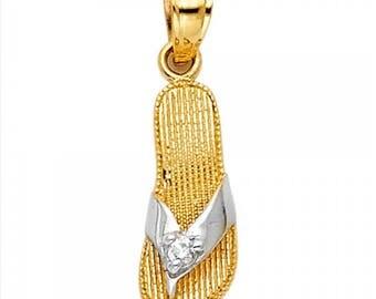 14K Solid Yellow White Gold Cubic Zirconia Sandal Pendant - Flip-Flop Shoes Necklace Charm