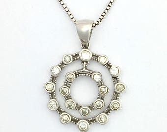 "Vintage Sterling Silver Circles Pendant on 18"" Chain Necklace"