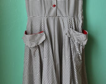 50s Sleeveless Striped Shirt Dress with Red Detail