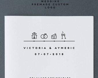 PREMADE WEDDING LOGO Timeline Design logo custom wedding design logotype monogram modern wedding blog logo design