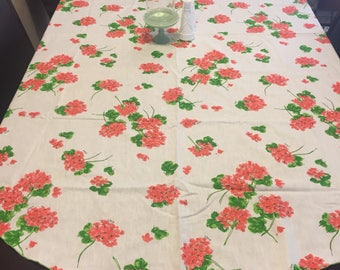 Vintage Vera Neumann Oblong White with Orange Flowers Sping Tablecloth