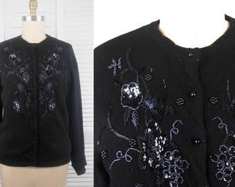VINTAGE 80s Black Sequinned Lambswool Knit Cardigan
