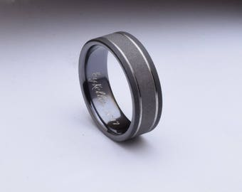 Sandblasted titanium ring with a two tone blasted surface, suitable as a mens wedding band, unique wedding ring, gents titanium ring