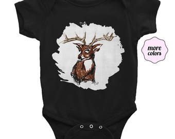 Deer Short-Sleeve Onesie | Buck Baby Onesie | Antlers Infant Onesie | Doe Top | Woodland Creature Onesie | Stag Baby Outfit | Animal Onesie