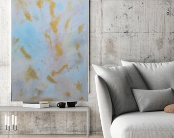 Sky -  Original Handmade Abstract Painting White Blue Pink Gold