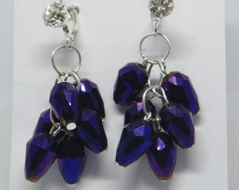 Berry bush earring, berries fruit, cluster earring, unusual earring, round bead, teardrop bead, red purple black, limited edition