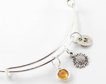 SUNFLOWER charm bangle, Sunflower bracelet, personalized bangle, initial bangle, initial hand stamped, birthstone bracelet, personalized