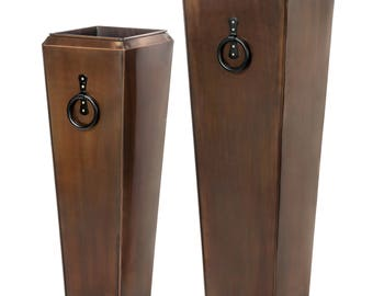 Set of Two H Potter Planters, Large, Tall, Outdoor Indoor, Antique Copper Finish, Patio, Deck, Garden Gift, Flower Pots