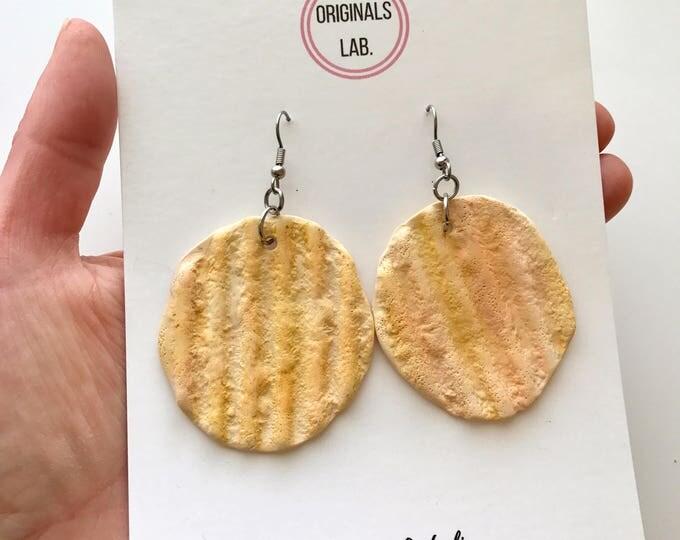 Potato Chip Earrings - Life Size packet chip earrings for the potato lover