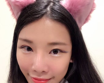 Cat ears Kitty Head wear Light Pink Purple Furry Animal Headband Costume Bow Bells