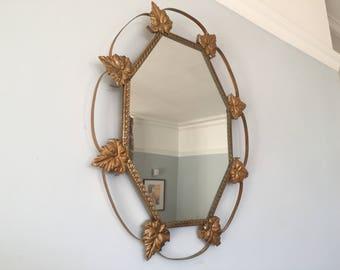 Stunning Glamorous Mid Century Metal Frame French Mirror Ornate Leaf Design