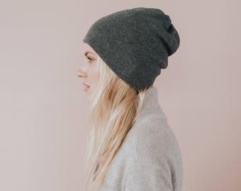 Cashmere Knit Hat// Dar Grey Colour