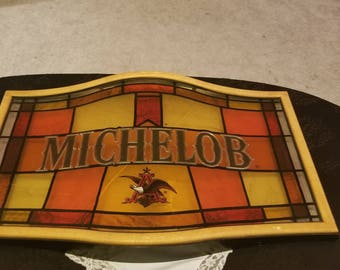 Vintage Michelob Stained glass plastic bar sign