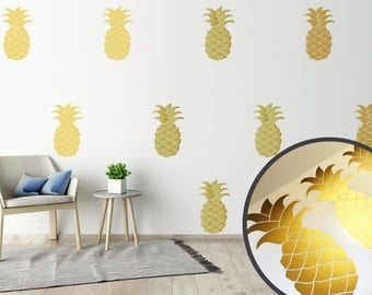 10 Gold Metallic Pineapple Wall Stickers