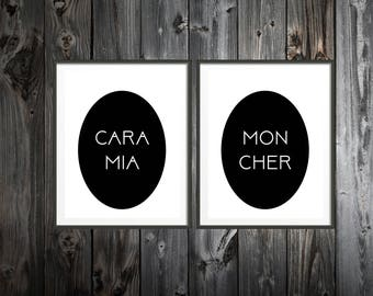 Twin Pack Addams Family Cara Mia Mon Cher Prints - Addams Family, Addams Family Decor, Morticia Addams, Goth Vanity Decor (#117)
