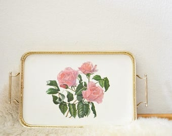 Vintage French style tray shabby chic pink roses silver silver tray of silver rose