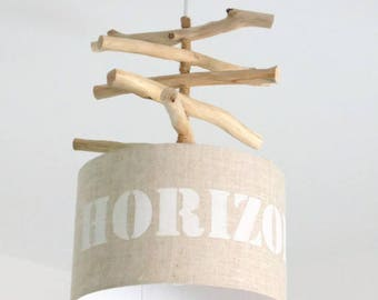 Driftwood - linen Horizon - lamp shade chandelier cylinder 28 cm - cylindrical pendant - round ceiling light