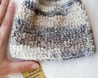 Rustic Charm Crochet Baby Hat 0-3 Months - Birdseed Baby Beanie