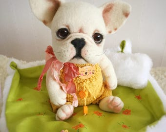 needle felted  French Bulldog dog 8 in (MADE TO ORDER)