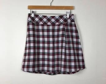 90s Plaid Skirt Size 26/27, Red/White Plaid Skirt, Plaid Skirt, Holiday Skirt