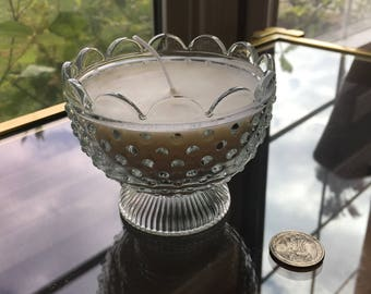 Vintage Clear Glass Unscented Candle & Decor