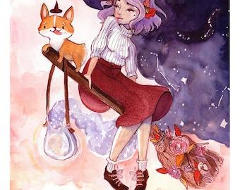 Corgi Witch. Watercolor Print.